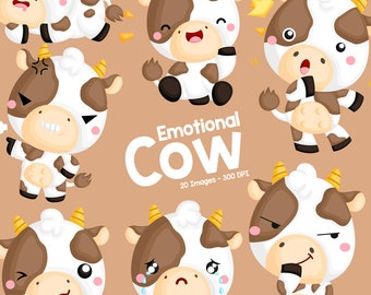 Emotional Cow Clipart - Cute Cow Clip Art - Cute Animal Clipart - Free SVG on Request