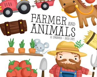 Farmer and Animal Clipart - Cute Vegetable Clipart - Farmer Tractor - Free SVG on Request