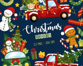 Christmas Truck Clipart - Holiday Truck in Winter Clip Art - Winter Season - Free SVG on Request