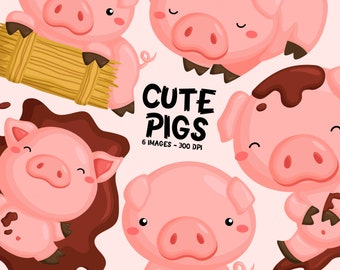 Cute Pig Clipart - Cute Animal Clip Art - Farm Animal - Free SVG on Request