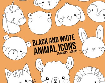 Animal Icons Clipart - Animal and Love - Cute Animal Clip Art - Black and White - Free SVG on Request