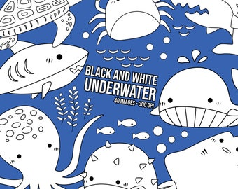 Underwater Clipart - Under the Sea Clip Art - Black and White - Free SVG on Request