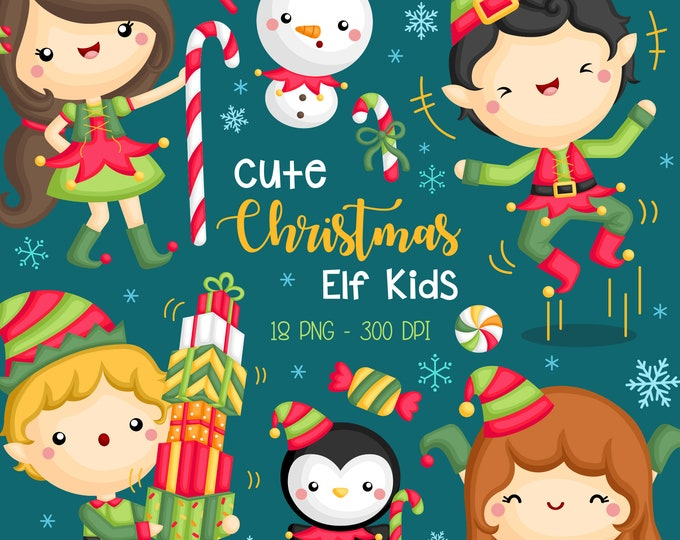 Featured listing image: Cute Christmas Elf Kids Clipart - Santa Claus Helper Clip Art - Cute Elf Girl and Boy - Cute Snowman Clipart - Free SVG on Request