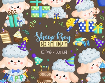 Birthday Sheep Clipart - Cute Animal Clip Art - Birthday Party - Free SVG on Request