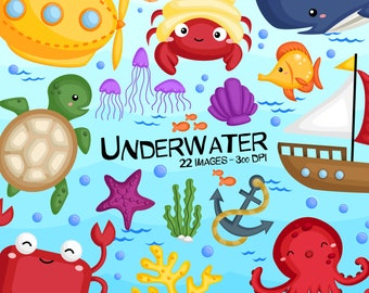 Underwater Animal Clipart - Under the Sea Clip Art - Cute Animals - Free SVG on Request