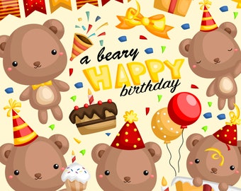 Birthday Bear Clipart - Cute Animal Clip Art - Birthday Party - Free SVG on Request