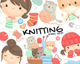 Knitting Clipart - Working Clipart - Cute Cat Clipart - Free SVG on Request