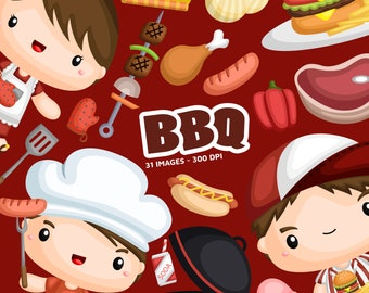 Cooking Barbeque Clipart - BBQ Food Clipart - Food at Home Party -  Free SVG on Request