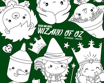 Wizard of Oz Clipart - Kids Story Clip Art - Black and White- Free SVG on Request