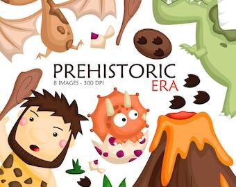 Cute Dinosaur Clipart - Prehistoric Era Clip Art - Stone Age - Free SVG on Request