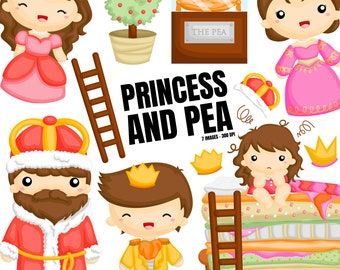 Princess and Peas Clipart - Storytime Clip Art - Fairytale -  Free SVG on Request
