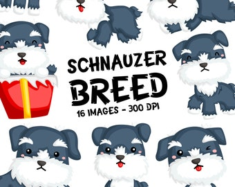 Schnauzer Clipart - Dog Breed Clip Art - Cute Animal Clipart - Free SVG on Request