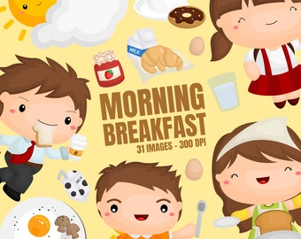 Morning Breakfast Clipart - Early Morning Clip Art - Food and Beverage - Free SVG on Request