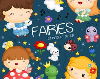 Forest Fairy Clipart - Cute Fairy Clip Art - Forest Animal - Free SVG on Request