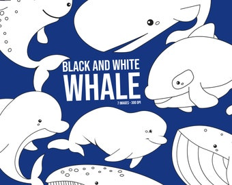 Whale Breeds Clipart - Cute Whale Clip Art - Black and White Clipart- Free SVG on Request