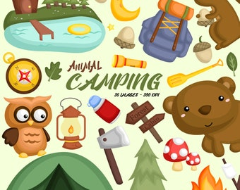 Animal in Camp Clipart - Cute Animal Clip Art - Camping and Tools -  Free SVG on Request