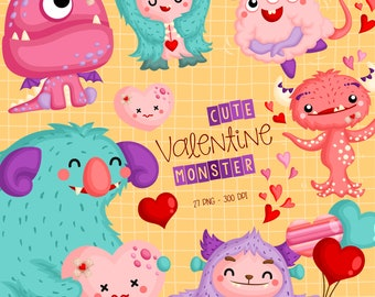 Valentine Monster Clipart - Cute Monster Clip Art - Birthday Party - Free SVG on Request