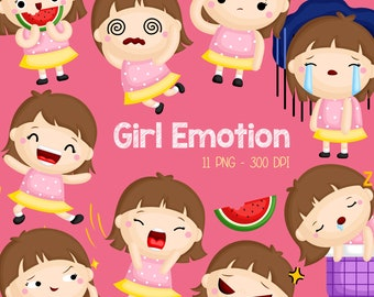 Emotional Girl Clipart - Cute Kids Clip Art - Many Type of Emotion -  Free SVG on Request