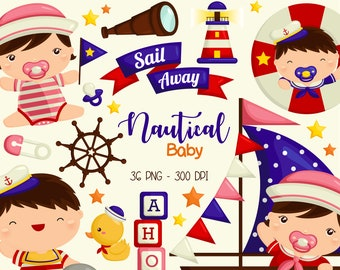 Baby Boy Sailing Clipart - Sealife Clip Art - Boat Clipart - Free SVG on Request