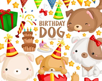 Dog and Birthday Party Clipart - Cute Animal Clip Art - Home Pet - Free SVG on Request