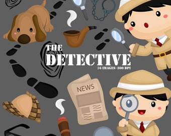 Cute Detective Clipart - Job and Occupation Clip Art - Tracker Dog - Free SVG on Request