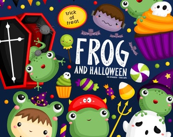 Halloween Frog Clipart - Holiday Celebration Clip Art - Cute Costume - Free SVG on Request