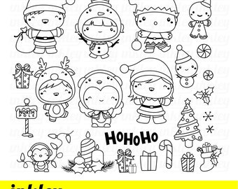 Cute Christmas Costume Clipart - Holiday Season Clip Art - Cute Kids - Free SVG on Request