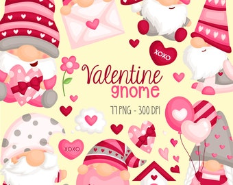 Valentine Gnome Clipart - Cute Valentine Clipart - Love Clipart - Free SVG on Request