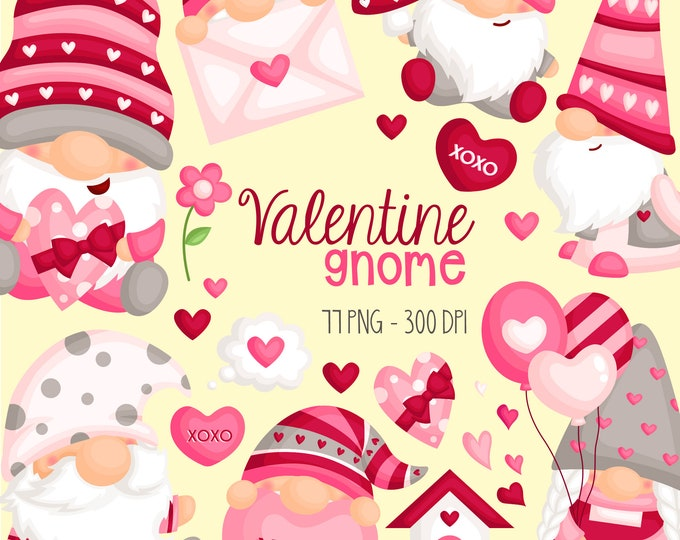 Featured listing image: Valentine Gnome Clipart - Cute Valentine Clipart - Love Clipart - Free SVG on Request