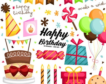 Birthday Cake Clipart - Birthday Party Clip Art - Birthday Celebration - Free SVG on Request