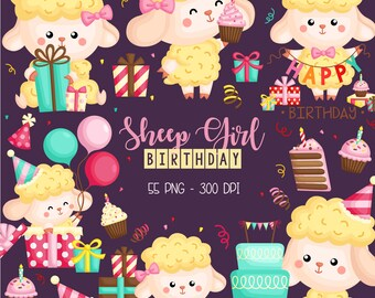 Cute Sheep Clipart - Birthday Party Clip Art - Cute Animal Clipart - Free SVG on Request
