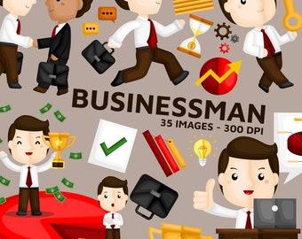Businessman Clipart - Financial Activity Clip Art - Teamwork Management - Free SVG on Request
