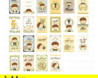 Nature Baby Boy Milestone Card Clipart - Growing up Clip Art - Cute Kids - Free SVG on Request