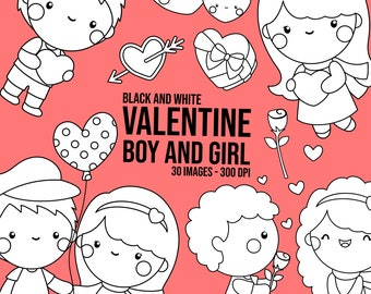 Valentine Couple Clipart - Cute Valentine Clipart - Black and White - Free SVG on Request