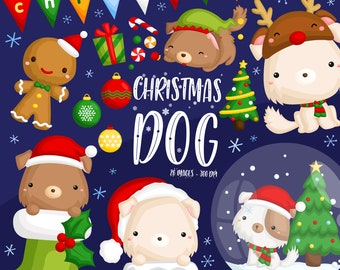 ChristmasDog Clipart - Cute Animal Clip Art - ChristmasHoliday - Free SVG on Request