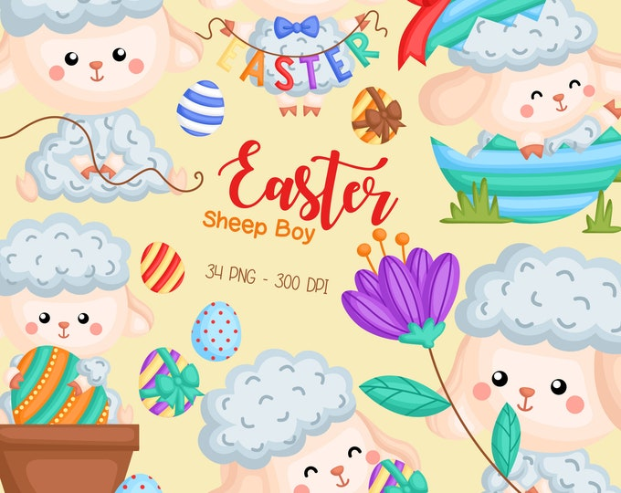 Featured listing image: Easter Sheep Clipart - Cute Animal Clip Art - Easter Holiday - Free SVG on Request