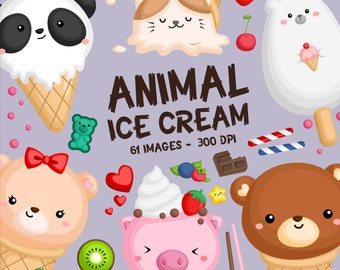 Ice Cream Animal Clipart - Sweet Food Clip Art - Cute Animal - Free SVG on Request