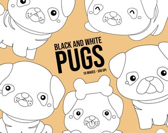 Cute Pugs Clipart - Dog Breed Clip Art - Black and White - Free SVG on Request