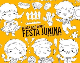Festa Junina Clipart - Brazil Clip Art - Black and White - Free SVG on Request