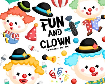 Cute Clown Clipart - Circus and Carnival Clip Art - Circus Clown - Free SVG on Request