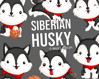 Siberian Husky Clipart - Dog Breed Clip Art - Cute Animal Clipart - Free SVG on Request