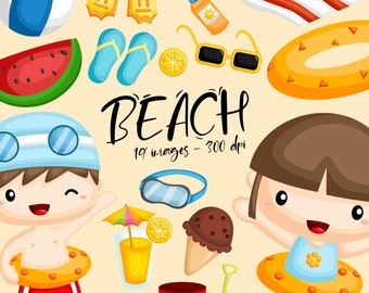 Kids in Beach Clipart - Cute Kids Clip Art - Summer Fun in The Sun - Free SVG on Request