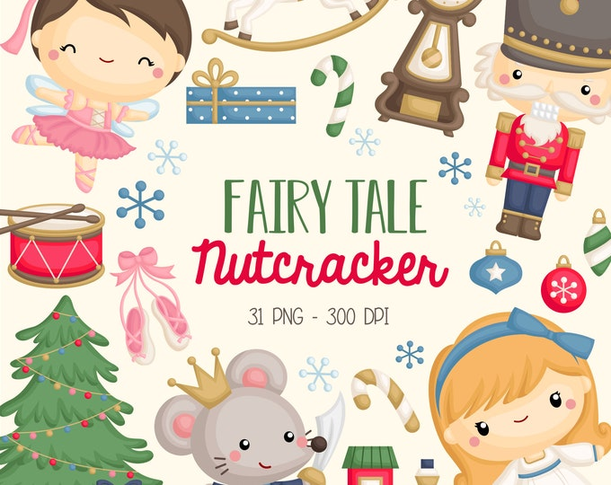 Featured listing image: Nutcracker Ballet Clipart - Cute Fairy Tale Clip Art - Kids Story - Free SVG on Request