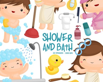 Shower and Bath Clipart - Kids Grooming Clip Art - Bathroom and Equipment - Free SVG on Request