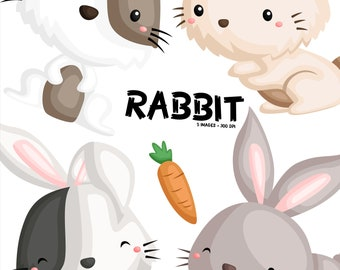 Cute Rabbit Clipart - Hare Bunny Clip Art - Cute Animal - Free SVG on Request
