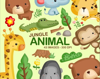 Cute Jungle Animal Clipart - Wild Animal Clip Art - Safari Animal - Free SVG on Request