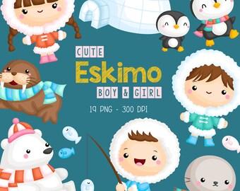 Cute Eskimo Kids Clipart - Cute Animal Clip Art - Polar Wild Animal - Free SVG on Request