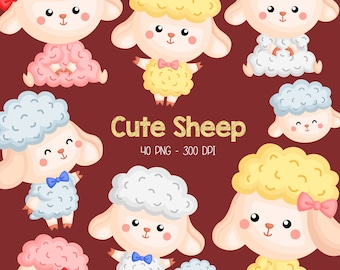 Cute Sheep Clipart - Cute Animal Clipart - Farm Animal - Free SVG on Request