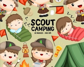 Scout and Camping Clipart - Cute Boy and Girl Scout -  Cute Camping Tools - Free SVG on Request