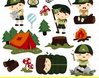 Scout Kids Clipart - Kids Camping Clip Art - Camping Equipment - Free SVG on Request